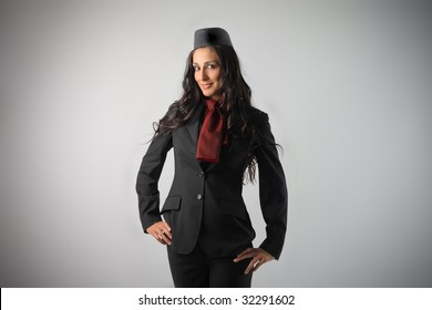 beautiful air Hostess isolated