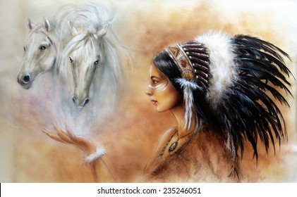 A beautiful airbrush painting of a young native indian woman wearing a gorgeous feather headdress, with an image of two white horse spirits hovering above her palm profile portrait eye contact
