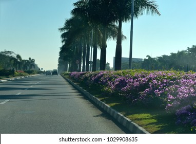 Beautiful airport approach road of Bangalore India stock photograph