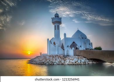 Beautiful Al Khobar Corniche Mosque Sunrise -Saudi Arabia.