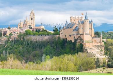 beautiful alcazar castle of Segovia, Spain