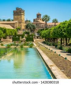 The beautiful Alcazar de los Reyes Cristianos (Alcazar of the Christian Monarchs) in Cordoba, Andalusia, Spain.