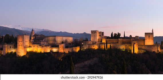 Beautiful Alhambra palace and surrounding mountains in Granada, Spain