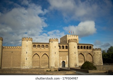 beautiful Aljaferia Palace in Zaragoza, Spain