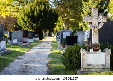 Beautiful alley at cemetery. Selective focus