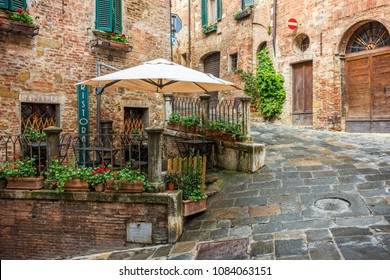 Beautiful alley in Tuscany, Old town Montepulciano, Italy