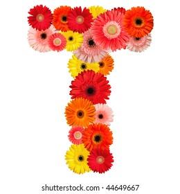 Beautiful alphabet of flowers - isolated on white