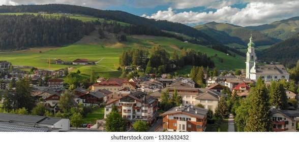 Beautiful alpin village, aerial view at dusk.
