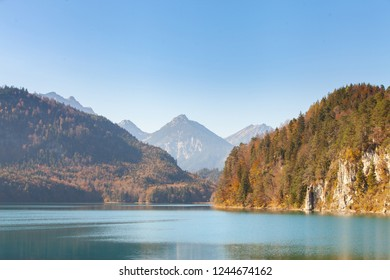 Beautiful of Alpine lake. It's located near the Neuschwanstein Castle and the Hohenschwangau Castle, Schwangau,Bavaria, Germany.