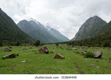 Beautiful alpine meadow and valley in the Alamedin Gorge on the Tian-Shan mountain Range, Kyrgyzstan.