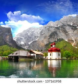 beautiful Alpine scenery - crystal lake Koenigsee  with small church