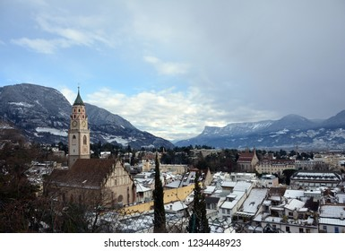 The beautiful Alpine town of Meran / Merano in south Tyrol, covered in snow in the winter.