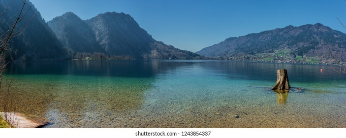 Beautiful alpine view at the Attersee-Salzburg-Austria in Spring