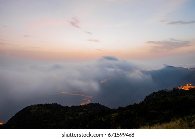 """The beautiful and amazing countryside in Abha city south area of Saudi Arabia """"Alsouda Highland"""". Clouds View"""