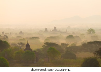 Beautiful amazing landscape. Magic panorama in Bagan. Nature background. Country Myanmar. Unique travel in buddhist pagodas. Inspiring leisure. Fantastic fairy view.