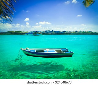 Beautiful amazing nature background. Tropical blue sun sea. Luxury holiday resort. Island atoll about coral reef. Fresh  freedom. Adventure day. Snorkeling. Coconut paradise. Beauty boat.