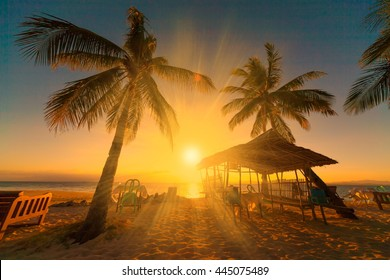 Beautiful amazing nature background. Tropical blue sun sea in Philippines . Luxury holiday resort. Island atoll about coral reef. Fresh freedom. Adventure sunset. Coconut paradise.