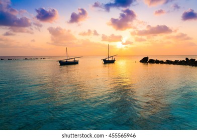 Beautiful amazing nature background. Tropical blue sun sea. Luxury holiday resort. Island atoll about coral reef. Fresh  freedom. Adventure sunset. Snorkeling. Coconut paradise. Beauty boat.