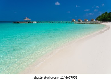 Beautiful amazing nature landscape. Tropical blue Maldives sea. Luxury holiday resort. Island atoll and coral reef. Travel eco paradise. Great panorama view. Inspiring summer.