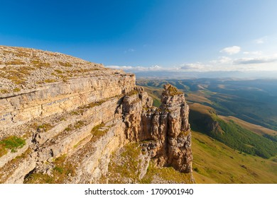 Beautiful amazing sunset landscape.  Mountain rocks  Bermamyt plateau. Caucasus in Russia country.Autumn view nature. Inspiring travel panorama. Unique scenery.