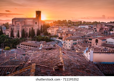 Beautiful amazing view over Siena in Tuscany on a sunset in Italy