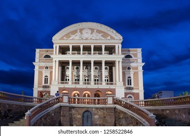 The beautiful Amazonas theater  (Teatro Amazonas  opera house), symbol of the rubber boom era in the amazon at dusk. Manaus, Amazonas, Brazil.