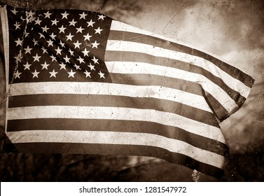 Beautiful American flag vintage photo with old vintage photography toned grey cracked and old.