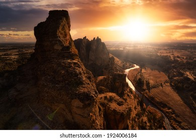 Beautiful American Landscape during a vibrant winter day. Colorful Sunset Sky Art Render. Taken in Smith Rock, Redmond, Oregon, North America. Nature Background