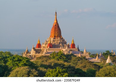 The beautiful Ananada Temple in Bagan in Myanmar, built in the year 1105 using architectural elements from Mon and Indian styles