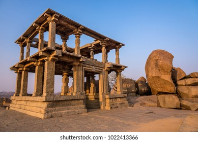 Beautiful ancient architecture of a temple on Hemakuta Hill in Hampi from 14th Century Vijayanagara Kingdom. Hampi is a UNESCO world heritage site.