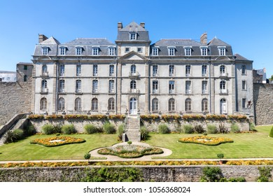 Beautiful ancient city wall, manor and gardens in the city of Vannes, Brittany, France