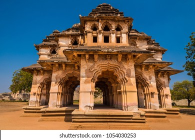 Beautiful ancient Lotus Mahal at Hampi temple from 14th century Vijayanagara kingdom is now a famous world heritage site
