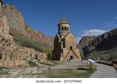 Beautiful ancient monastery Noravank in the mountains of Armenia among the steep red cliffs of the Arpa river gorge