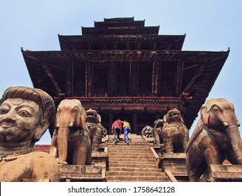 The beautiful ancient nepali hindu temple (Nyatapola Temple) including ancient carved stones at public Bhaktapur Durbar Square, The one of popular landmark in kathmandu, Nepal.