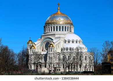Beautiful ancient orthodoxy Sea Temple near St. Petersburg