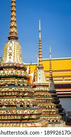 Beautiful ancient Pagoda or Chedi decorated with old ceramic in the temple in Thailand. Wat Phra Chettuphon( Wat Pho)