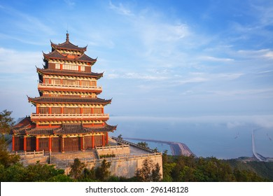 Beautiful ancient temple on the seaside with blue sky and fog, Dongtou island, Wenzhou, Zhejiang province, China