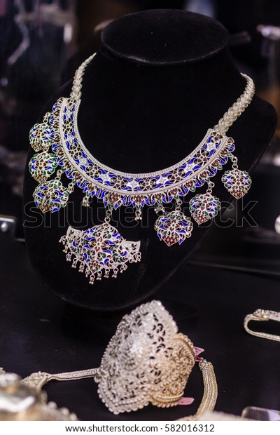 Beautiful Ancient Thai genuine silver jewelry, retro engraved silverware, Beautiful genuine silver jewelry handicrafts of Thailand