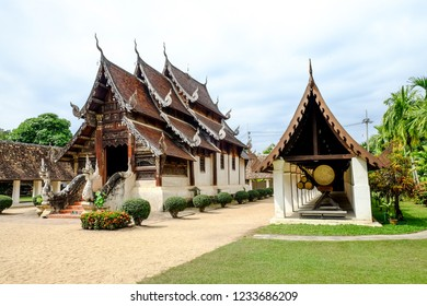 beautiful ancient wooden Buddhist church at Wat  Ton Kain temple in Chiengmai, Thailand