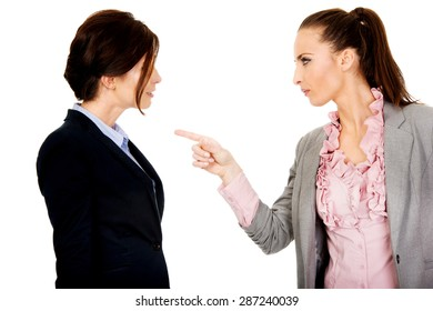 Beautiful angry businesswoman accuses her partner.