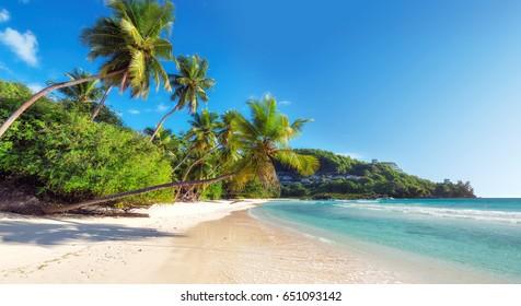 Beautiful Anse Takamaka beach on Seychelles.