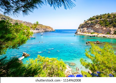 Beautiful Anthony Quinn Bay on Rhodes Island, Dodecanese, Greece
