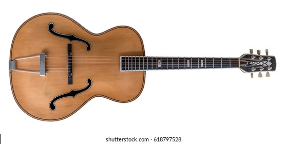 Beautiful antique acoustic guitar isolated on white background.