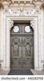 Beautiful antique carved wooden door. Entrance to the Berlin Cathedral, Museum Island, Germany.