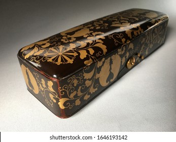 Beautiful antique Japanese Fubako ( Letter box ) Black lacquer ground With leaf and Heraldry in raised gold Hidden box interior with Cloud of dense Nishiji          Meiji period 1868-1912