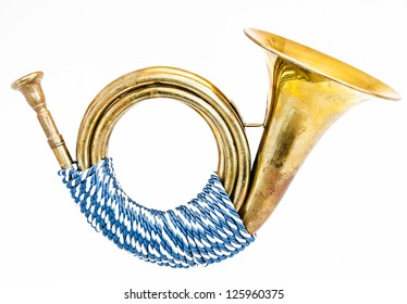 beautiful antique post horn - closeup