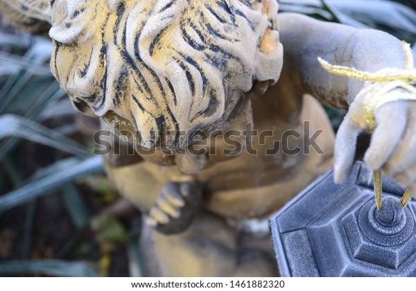 Beautiful Antique Statue Angel Boy Solar Stock Photo Edit Now 1461882320