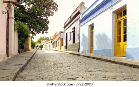 Beautiful antique street in historic quarter of Colonia del Sacramento, Uruguay. Quiet town, cobbled street