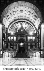 The beautiful Antwerp central station without peoples only silence