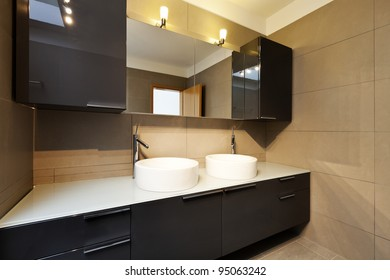 beautiful apartment, interior, bathroom, two sinks and mirror